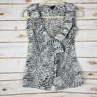Banana Republic Black White Animal Print Ruffle Tie Front Sleeveless Blouse XS