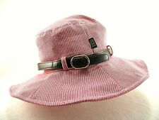 Peter Grimm Red and White Stripe Women's Sun Hat with Brown Band