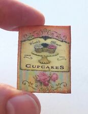 Miniature Dollhouse Bakery Cupcake Sign kitchen pink white striped roses baking