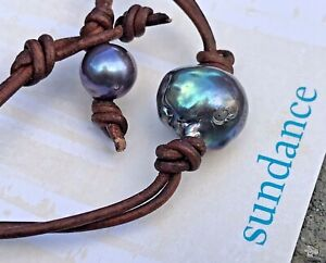 "NEW $198 Sundance 16""  BAROQUE PEACOCK PEARL LEATHER Necklace Choker Freshwater"