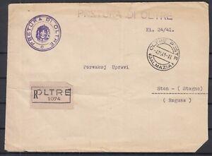 Dalmazia 1941 WWII ☀ Pretura di Oltre registered mail to Ston (Ragusa) ☀ RARE