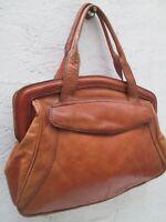 Grand sac à main en cuir et reptile vintage 70's bag à saisir