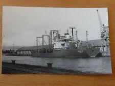 Vintage (1980s) B&W photo of Antipolo-I Cargo ship in King George V Dock Glasgow
