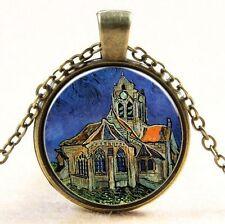Van Gogh La Iglesia at Auvers Cabujón Vidrio Bronce Cadena Colgante Collar #15