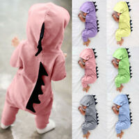 UK Newborn Baby Boys Girls Kids Dinosaur Hooded Romper Jumpsuit Clothes Outfits