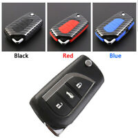 Carbon Fiber Design Shell+Silicone Cover Holder Fob Case For Toyota Remote Key A