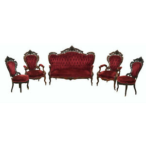 5 pc. Rosewood Rococo  Parlor Suite, Stanton Hall Pattern by Joseph Meeks #7808