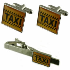 Taxi Tie Clip With Cufflinks Matching Gift Set