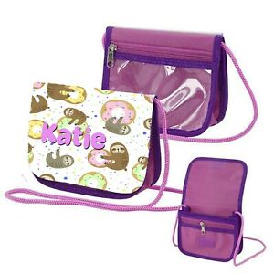 Personalised Sloth Childrens Small Coin/Purse Bag with Shoulder Strap