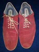 Johnston Murphy Ellington RED Wingtip Oxford Shoes Mens US SZ 12M Suede Lace Up