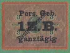 Austria Customs Revenue Bft #18 mint Pers Geb 1ZB ganztagig on 3kr 1919 cv $14