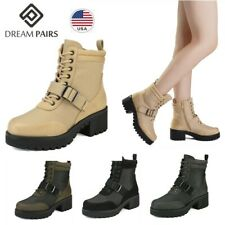 DREAM PAIRS Womens Winter Platform Ankle Boots Lace Up Chunky Heel Combat Boots