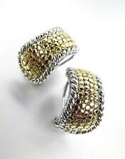 NEW Designer Style Balinese Gold Dots Silver Cable Omega Latch Earrings