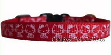* Handmade * Red  'Hello Kitty' Cat Kitten Safety Collar 7.5 inch - 9 inch