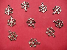 TIBETAN SILVER Snowflake # 2 CHARMS - 10 per pacco