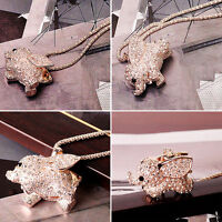 Lady Charm Golden Rhinestone Elephant Pendant Necklace Long Sweater Chain EP