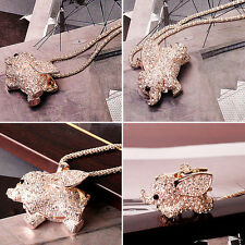 Pendant Chain Sweater Necklace Aus Gold Plated Crystal Cute Baby Elephant