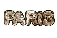 ÉCUSSON PATCH thermocollant ** 14 x 4,5 cm **  LETTRE MOT PARIS Sequin
