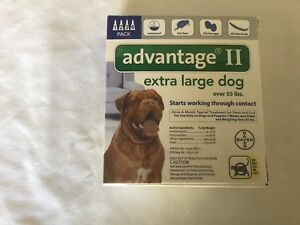 Advantage II Extra Large  Dog Over 55 lbs. 4 pack USA  EPA  approved