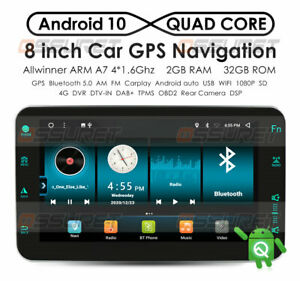 "8"" Android10 Car Stereo GPS Navigation Radio Player 1 Din WIFI CarPlay DSP BT5.0"