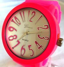 Women's Fashion Watch Geneva MC40064 Pink Silicone Band Water Resistant 1 ATM