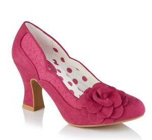 Ruby SHOO nuevo Seren Borgoña Beige Lunares Tacón Alto Botas al tobillo tallas 3-8