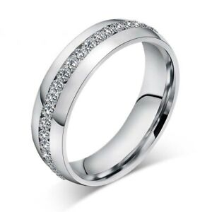 Stainless Steel CZ Ring Womens Mens Jewelry Titanium Rings Wedding Party Bridal
