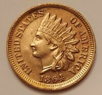 1864 Bronze Indian Head Cent Grading GEM BU RED Priced Right Shipped FREE  i56