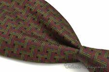 "SULKA Burgundy Green Woven Geometric 100% Silk Mens Luxury Tie - 4.00"""