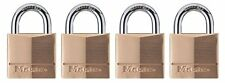 Master Lock 140Q Solid Brass Keyed Alike Padlock Wide Body and Shackle 4 Pack