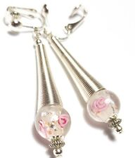 Long Pink Clip-on Earrings Silver Spring Style Glass Beads Non Pierced