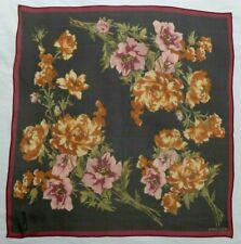 "Anne Klein Chiffon Black/Burgundy Floral Motif 21"" 100% Silk Scarf"