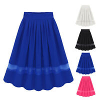 Retro Elastic Womens High Waist Chiffon Slim Dress Ladies Organza Pleated Skirt