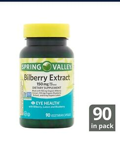 Spring Valley Bilberry Extract Vegetarian Capsules, 150 mg, 90 Count. Exp 01/23