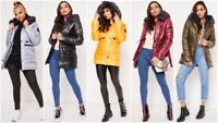 Womens Fur Collar Hooded Jacket Ladies Puffer Winter Warm Toggle Coat Parka Size