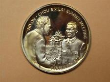 "US China 1972 24K Gold Plated on Silver Token ""Nixon-Chou En Lai Summit Meeting"""