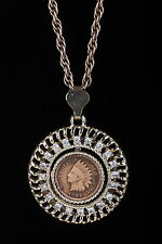 1907 Indian Head Penny In Vintage Gold Tone White Stone Encrusted Necklace #1325