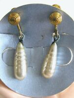 EMMONS VINTAGE GLASS PEARL DROP DANGLE EARRINGS SCREW BACKS ORIGINAL BOX & CARD