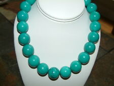 LARGE GENUINE BLUE TURQUOISE POLISHED ROUND BEAD NECKLACE 20mm,  18 inches