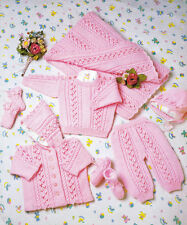 KNITTING PATTERN -LOVELY BABY'S LAYETTE SET IN DK WOOL - 7 ITEMS PREM - 1/2 YEAR