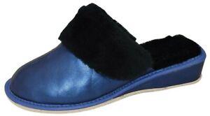 Womens Natural Leather And Sheepskin Fur Slippers Mules UK2-8 / EU35-41
