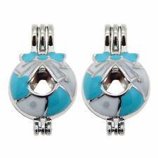 3 pcs Enamel Metal Round Shaped Pearl Cage Bow Decor Pendant Charm Jewellery