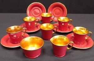 Crown Devon Art Deco Modane 14 Piece Teaset Red And Gold Demitasse