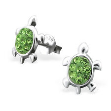 925 Sterling Silver Crystal Peridot Turtle Kids Girls Women Stud Earrings