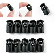 10Pc Useful Black Plastic Toggle Spring Clasp Stop Single Hole String Cord Locks