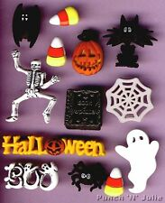 HALLOWEEN - Skeleton Bat Pumpkin Cat Spider Web Ghost Dress It Up Craft Buttons