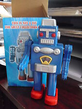 """Unique Tin Wind-Up Mechanical Smoking Blue Robot 8 1/2"""" with Box MS360"""