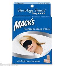 MACK's  Shut-Eye Shade SLEEP MASK Travel Trips Naps Washable Earplugs Night 70