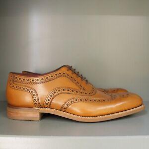 Loake Kerridge Brogue Shoes 7 ½ F, Tan Calf, Rubber Soles (A08)