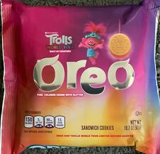 NEW TROLLS WORLD TOUR OREO PINK COLORED CREME WITH GLITTER COOKIES 10.7 OZ PACK